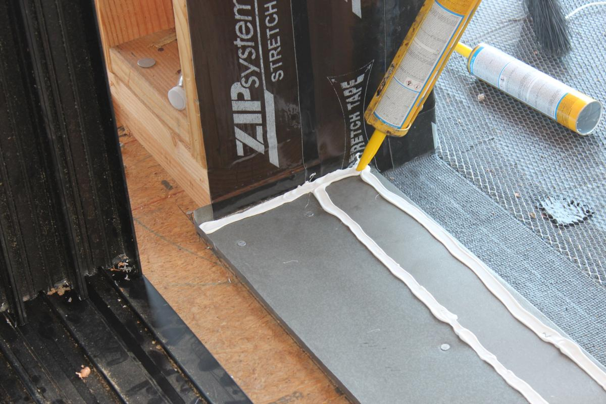 door sill pan installation at sheldon street house